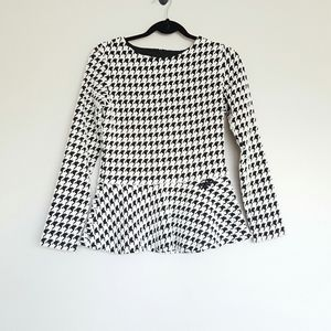 Sara Campbell houndstooth peplum trim top